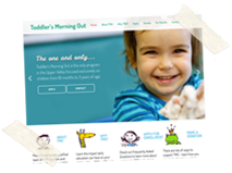 Toddler's Morning Out Wordpress Web Design, Postcard, Business Card and Letterhead Design